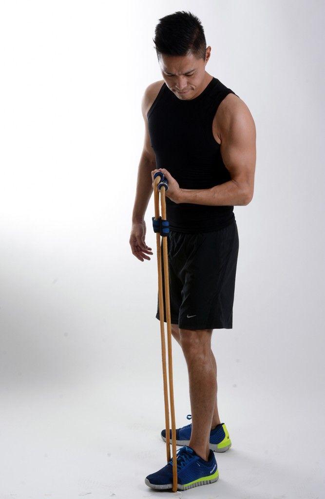 Rutina brazo y hombro con ligas de ejercicio curl biceps con ligas keiji