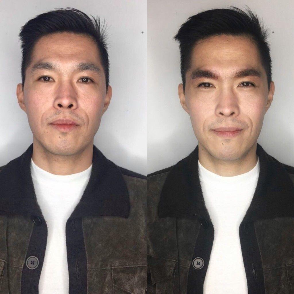 Keiji Yoshiki antes y después microblading, tatuaje para cejas en hombres