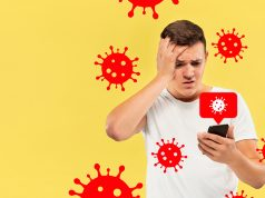 Young man using phone, watching news of coronavirus spreading and worldwide cases, shocked and sad. Flu virus protection, prevention, treatment. Healthcare and medicine. Viruses illustration. Ad. como cobrar en linea por mis servicios